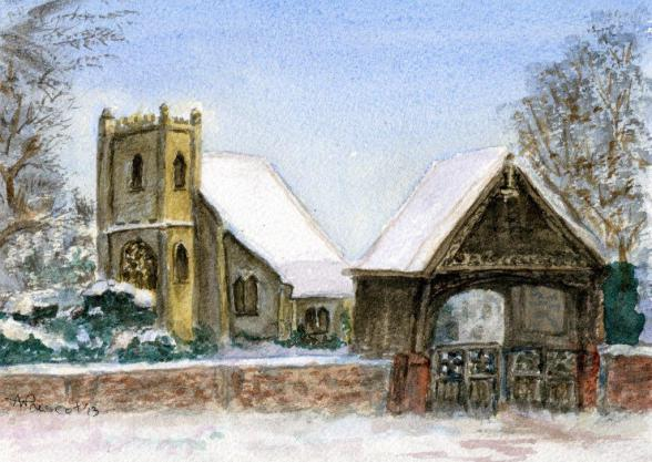 Painting of St Nicholas Church in the snow