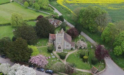 An ariel photo of St Nicholas church