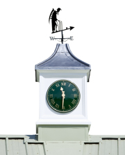 A photo of the clock and weather vane on top of the cricket pavillion
