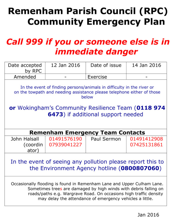 RPC Community Action Plan poster with emergency phone numbers