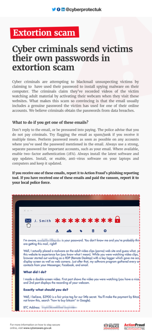 Poster outlining an extortion scam